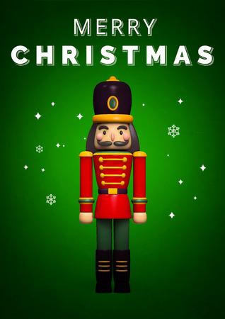 Christmas Nutcracker Soldier Greeting Card. 3D Illustration.