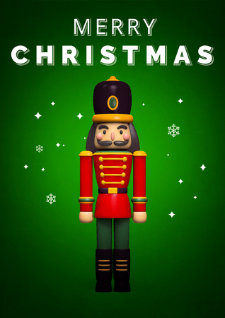 Christmas Nutcracker Soldier Greeting Card. 3D Illustration.