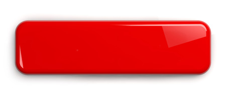 Red Button. Rectangular Shiny Plate Isolated on White. Clipping path included. 3D illustration. Stock Photo