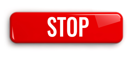 Stop Red Label Button. Rectangular Isolated 3D Banner.