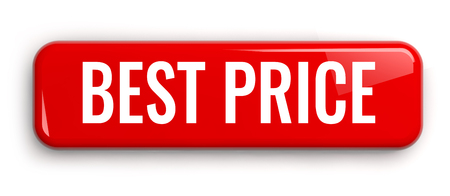 Best Price Red Label Button. Rectangular Isolated 3D Banner.