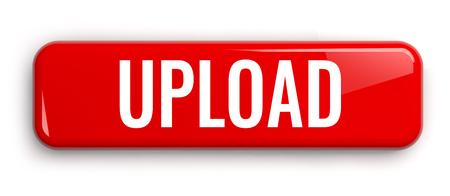 Upload Red Button. Rectangular Isolated 3D Banner. Banco de Imagens