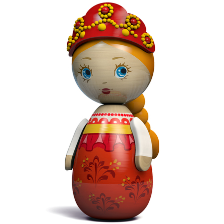 Beautiful Russian Girl Character Doll. Kokeshi Doll Inspired by Russian Traditional Matryoshka Dolls Design. Stockfoto