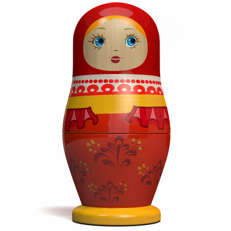 Matryoshka Russian Nesting Doll. Russian Culture Traditional Wooden Doll Design.