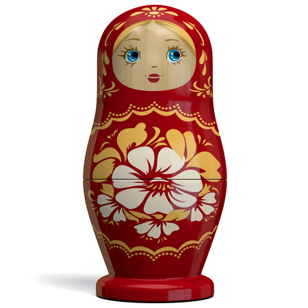 Matryoshka - Red Russian Nesting Doll. Traditional Russian Culture Wooden Doll Design. 3D Illustration.