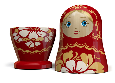 Open Matryoshka Red Russian Nesting Doll. Traditional Russian Culture Wooden Doll Design. 3D Illustration.