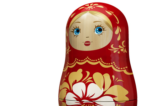 Matryoshka Close Up - Red Russian Nesting Doll. Traditional Russian Culture Wooden Doll Design. 3D Illustration.