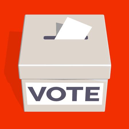 Urna de votación sobre fondo brillante. Ilustración vectorial 3D.