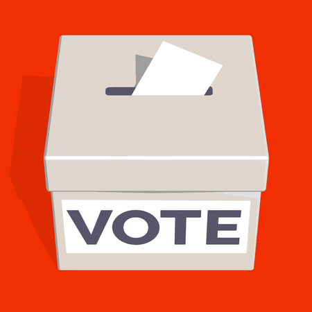 Voting Ballot Box on Bright Background. Vector 3D Illustration.