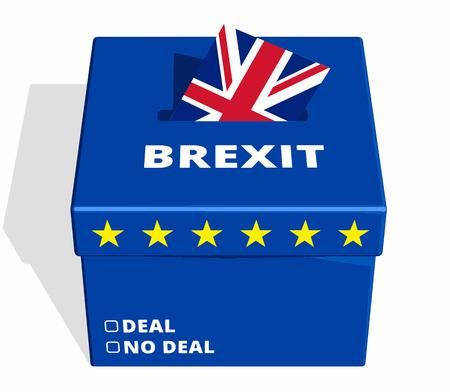Brexit Vote Box with Deal or No Deal Voting Referendum Options. Vector Illustration. Vector Illustration