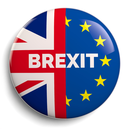 Brexit Theme British UK and EU Flags Button Badge Stock Photo