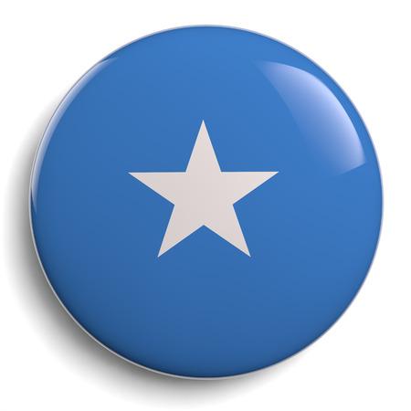 Somalia Flag Round Badge Symbol Isolated on White Background. 3D Illustration. Banque d'images