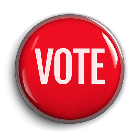 Vote Red Button Isolated on White Background - 3D Illustration
