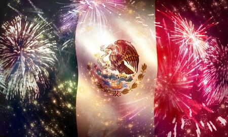 Mexico Flag Colorful Fireworks Celebration Display