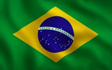 Brazil Flag Waving Background Texture