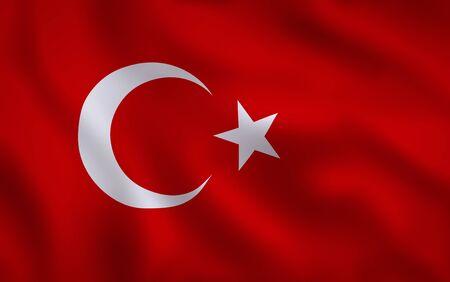 Turkish Flag Waving Background Texture Stock Photo