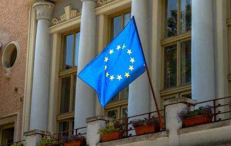 EU Flag Waving on Public Building Facade