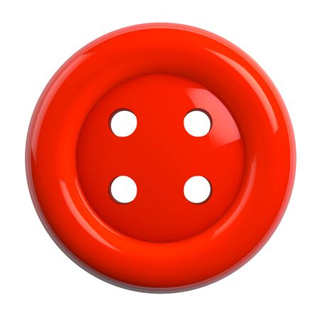 Button in Red Color Isolated on White Background - 3D Illustration