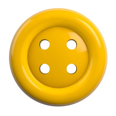 Button in Bright Yellow Color Isolated on White Background - 3D Illustration