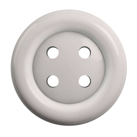 Button in White Color Isolated on White Background - 3D Illustration