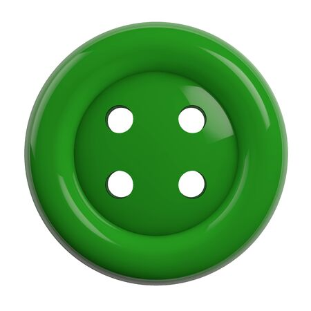 Button in Green Color Isolated on White Background - 3D Illustration