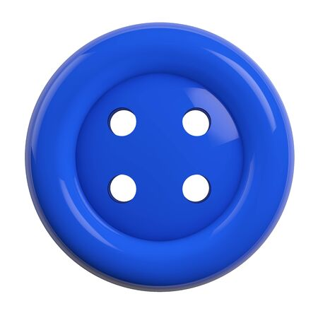 Button in Blue Color Isolated on White Background - 3D Illustration
