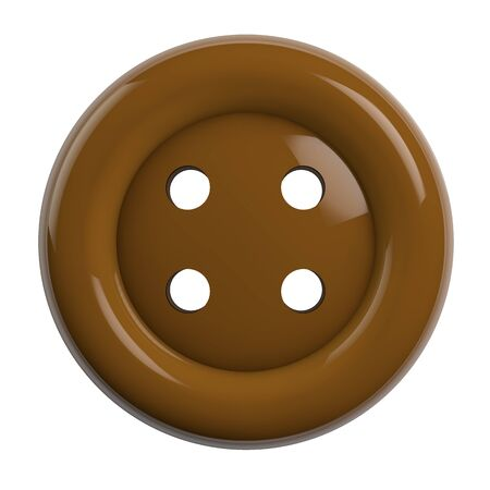 Button in Brown Color Isolated on White Background - 3D Illustration