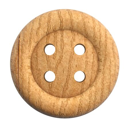 Wooden Brown Button Isolated on White Background - 3D Illustration 版權商用圖片