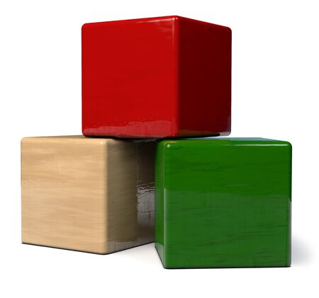 Building Blocks Wooden Toy Isolated on White - 3D Illustration 版權商用圖片