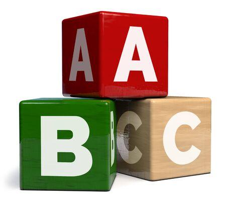 ABC Alphabet Cubes Wooden Toy - 3D Illustration Stok Fotoğraf