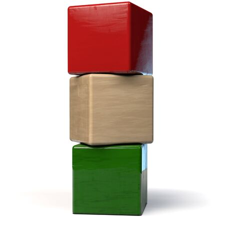 Building Blocks Wooden Toy Vertical Arrangement - 3D Illustration 版權商用圖片