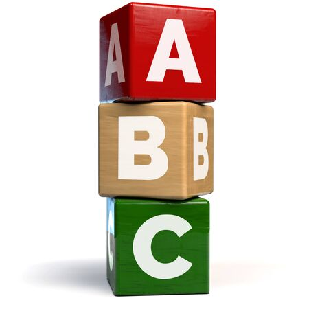 ABC Building Blocks Wooden Toy Vertical Arrangement - 3D Illustration 版權商用圖片