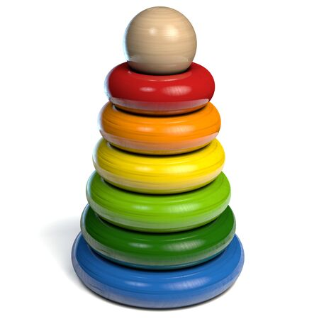 Pyramid Toy with Colored Wooden Rings with Ball on top. 3D Illustration