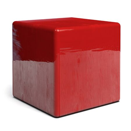 Red Cube with Glossy Wooden Texture Isolated on White - 3D Illustration