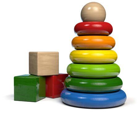 Wooden Toys - Building Blocks and Rings Pyramid. 3D illustration. 版權商用圖片