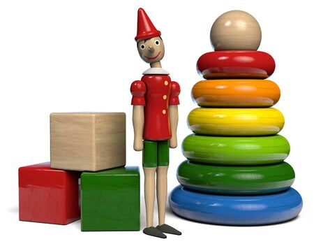 Wooden Toys - Pinocchio, Building Blocks and Rings Pyramid. 3D illustration.