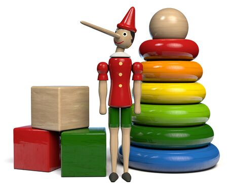 Wooden Toys Set - Pinocchio Wooden Doll, Building Blocks and Colorful Rings Pyramid. 3D illustration.