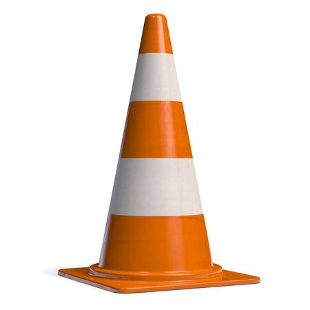 Traffic Cone for Roadworks Caution or Danger Alert. Attention Icon 3D illustration.  版權商用圖片