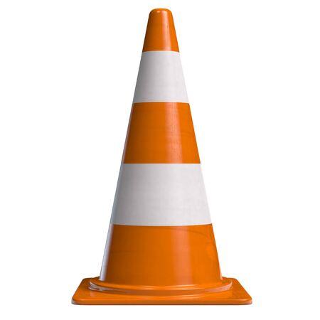 Traffic Cone for Roadworks Caution or Danger Alert. Attention Symbol 3D illustration.  版權商用圖片