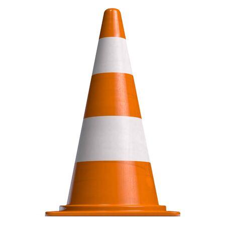 Traffic Cone for Roadworks or Danger Alert. Attention Icon 3D illustration. 版權商用圖片