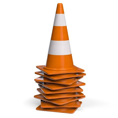 Stacked Traffic Cones for Roadworks. 3D illustration.