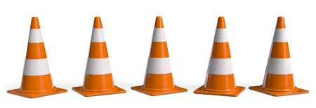 Under Construction Traffic Cone Set. Roadworks Barrier or Danger Alert. Attention Icon 3D illustration. 版權商用圖片