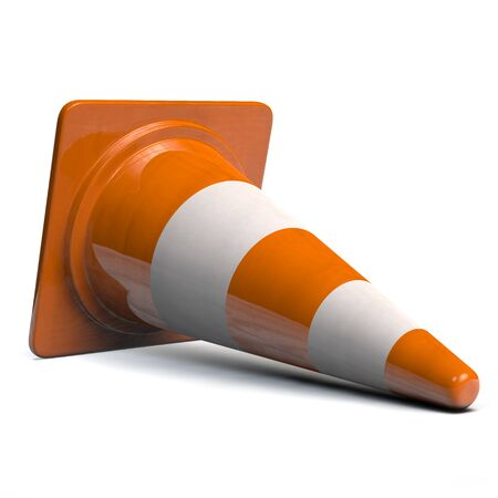 Traffic Cone Down on Its Side. 3D illustration.
