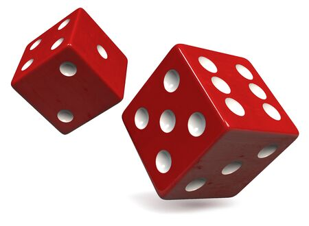 Two Red Dice with Black Dots Isolated on White. Casino, Gambling, Entertainment and Gaming Symbol. Clipping Path Included. 3D Illustration.