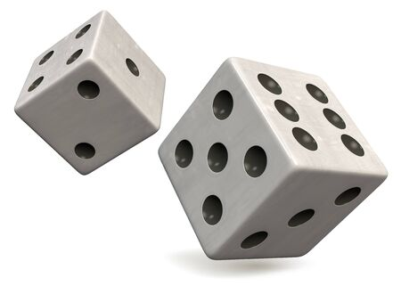 Two White Dice with Black Dots Isolated on White. Casino, Gambling, Entertainment and Gaming Symbol. Clipping Path Included. 3D Illustration.