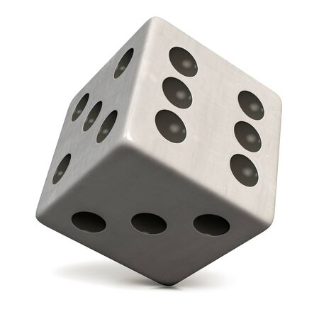 White Dice with Black Dots Isolated on White. Casino, Gambling, Entertainment and Gaming Symbol. Clipping Path Included. 3D Illustration.