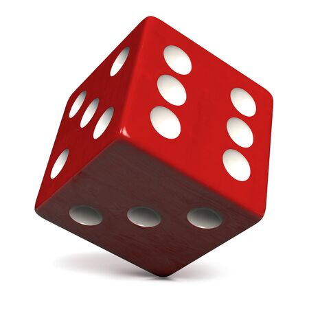 Red Dice with White Dots Isolated on White. Casino, Gambling, Entertainment and Gaming Symbol. Clipping Path Included. 3D Illustration.