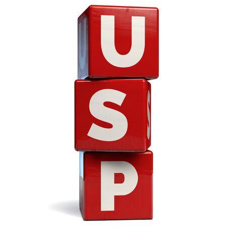 USP Unique Selling Proposition Business Acronym. 3D Illustration.