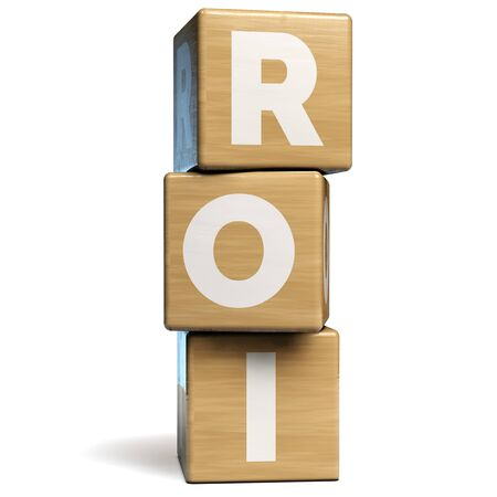 ROI Return on Investment Business Term. 3D Illustration.