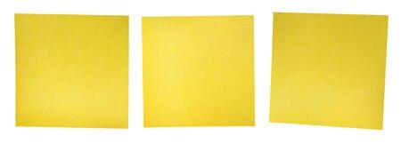 Yellow Adhesive Memo Note Set of Three. 3D Illustration. 版權商用圖片